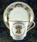 Bicentennial Cup And Saucer 1776 To 1976 Liberty Bell Flags Usa