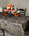 Spider Web Black Lace 84 X 60 Tablecloth Halloween Steampunk