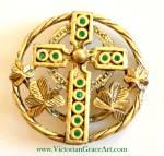 Vintage Celtic Cross Pin Brooch Green Rhinestones