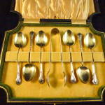 Sterling Silver Teaspoons With Tongs, Boxed Art Nouveau