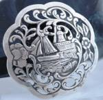Antique Dutch Harbor Silver Repousse Brooch Pin With Sailboat And Wind