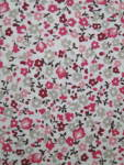Pinks On White, Floral Cotton Material 1960s/70s