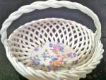 Erphila Germany Porcelain Chintz Lattice Basket