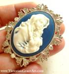 Religious Brooch Pendant Madonna And Child Jesus Cameo
