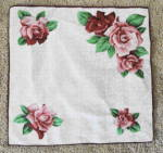 Large Pink Roses On White Background Handkerchief