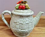 Basketweave Lefton Teapot With Vegetables