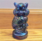 Iridescent Blue Glass Owl Figurine Or Paperweight