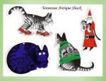 Kliban Cat Ornaments 4 Pc