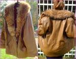 Vintage Marvin Richards Fox Fur Trim Leather Coat Jacket Brown