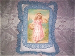 Shabby Art Print Decorative Throw Pillow Girl Flowers Blue Pink