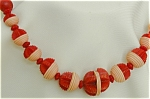 Carved Red Bakelite Necklace W Off White