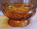 Amber Glass Footed Scalloped Candy Dish Stars And Bars Pattern