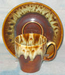 Canonsburg Brown Drip Cup And Saucer