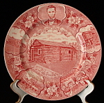 Transferware Plate Lincoln Red New Salem Adams Jonroth