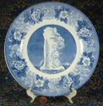 Blue Transferware Plate Old Faithful Geyser Jonroth Yellowstone Centen