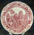 Spode Cranberry Plate Red Transfer Caramanian Traditions England Scene