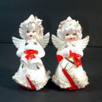 1950s Ceramic Spaghetti Angels Christmas Salt Pepper Shakers