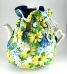 Tea Cozy Daisies Large Padded Hand Made Usa Blue White Yellow