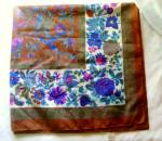 Vintage 1980s Berkshire Ladies Scarf-brown, Purple, Blue, Green Floral
