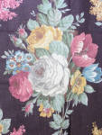 30s Linen Alizarine Crimson Floral Roses Fabric 3 + Yds