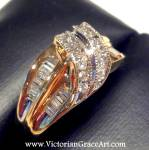 14k Gold Vintage Estate Diamond Ring Baguette Round Band