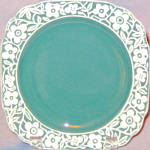 Harker Floral Band Teal Bread Plate