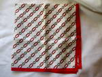 Vintage Retro C.1980s Ladies Scarf Red, Black, White, Yellow Chain Link Design