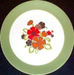 Homer Laughlin Green Rim Floral Dinner Plate