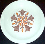 Homer Laughlin Brown Floral Dinner Plate