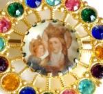 Vintage Pin: Saint Anne Virgin Mary Religious Rhinestone Jewelry