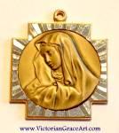 Vintage German Pendant Virgin Mary Our Lady Maltese Cross Pendant