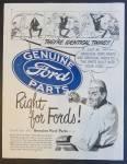Genuine Ford Automobile Car Parts Ad