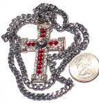 Large Vintage Red & Clear Rhinestone Bejewelled Cross Neckalce