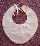 Vintage 1940 Pink Bow Embriodered Baby Bib Doll