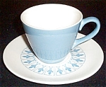 Homer Laughlin Blue Fleur De Lis Cup And Saucer