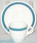 Teal Border Demitasse Cup And Saucer