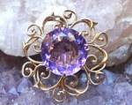 14k Gold European Cut Amethyst Pendant / Brooch