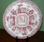 "Staffordshire 9 1/2"" Purple Transferware Plate, Antiques"