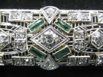 Antique Diamond Filigree Pin With Emeralds