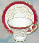 Holmar Maroon Gold Filigree Cup And Saucer