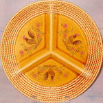 Rooster Gold Ceramic Relish Plate