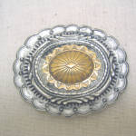 1995 Gold Plated And Pewter Western Belt Buckle