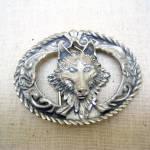 1995 Pewter Wolf's Head Western Style Belt Buckle