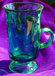 Anchor Hocking Forest Green Glass Footed Irish Coffee Mugs (4)