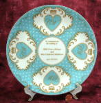 Plate William Kate Royal Wedding Royal Worcester Hearts Blue Gold