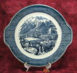 Cake Plate Blue Transferware Currier And Ives Vintage Rocky Mountains