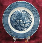 Dinner Plate Blue Transferware Currier Ives Vintage Grist Mill 10 Inch
