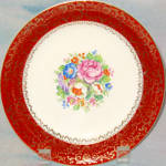 Sebring Maroon Border Floral Salad Plate