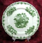 Masons Fruit Basket Dinner Plate Green Transferware Ironstone 1940s