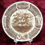 Fair Winds Dinner Plate Nautical Brown Transferware Friendship Salem